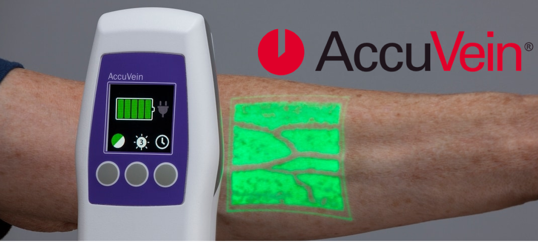 AccuVein AV500 in use for vein visualization with logo
