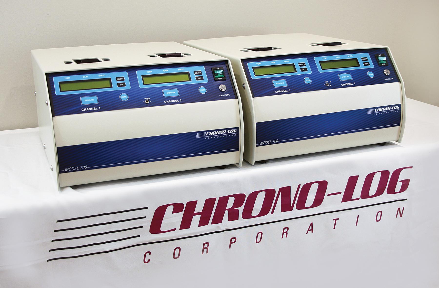 Two CHRONO-LOG Model 700 Whole Blood and Optical Lumi-Aggregometers on display