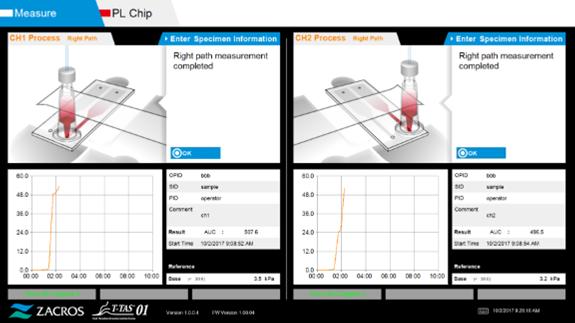 T-TAS01 thrombus formation PL Chip Measurement screen
