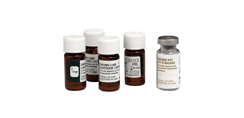 CHRONO-LOG Platelet Function Reagents bottles